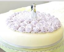 C004 -  单层结婚蛋糕 (紫色玫瑰)