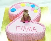 粉色2字造型蛋糕