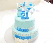 翻糖-蓝色双层蛋糕